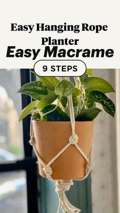 Macrame Plant Hanger Patterns, Macrame Plant Hangers, Macrame Plant Holder, Plant Holders Diy, Rope Plant Hanger, Diy Planters, Hanging Planters, Diy Hanging Planter Macrame, Hanging Plant Diy
