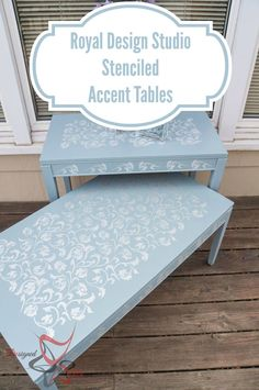 Stenciled Accent Tables via Designed Decor    Scroll Allover Furniture Stencil   Royal Design Studio