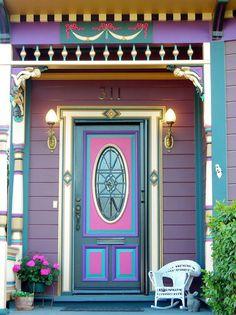 Detail of house in Northern California. (Only location provided. Grand Entrance, Entrance Doors, Doorway, Cool Doors, Unique Doors, Painted Doors, Door Knockers, Victorian Homes, Victorian Door
