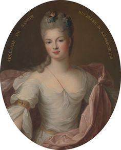 Marie Adélaide de Savoie, Duquesa de Borgoña, hermana de María Luisa Gabriela de Saboya y esposa de Luis, Duque de Borgoña y hermano mayor de Felipe V. 1710