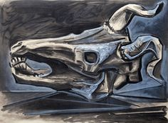 Pablo Picasso, Goat's Skull on the Table, 1953 on ArtStack #pablo-picasso #art