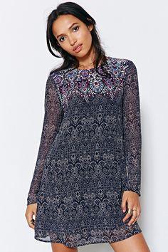 Ecote Long-Sleeve Meredith Trapeze Mini Dress