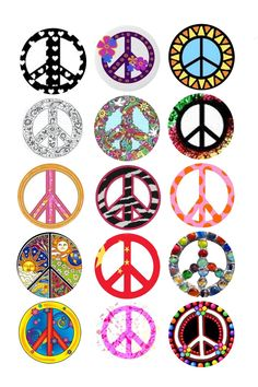 So Cute Peace and Love Signs. Great for making Toppers, Labels, Stickers and Decorations for Parties with Themes like the Hippy Par. Bottle Cap Art, Bottle Top, Bottle Cap Images, Bottle Cap Projects, Bottle Cap Crafts, Free Printable Invitations, Free Printables, Hippie Party, Oh My Fiesta