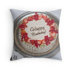 'Happy Birthday Strawberry Cake' Throw Pillow by Throw Pillows Bed, Decorative Throw Pillows, Silver Platters, Strawberry Cakes, Yummy Cakes, Happy Birthday, Iphone Cases, Framed Prints, Bed Pads