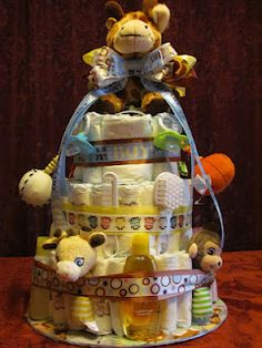 My first baby shower diaper cake very easy to do!!