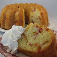 """GA Peach Pound Cake I """"A perfect way to use ripe peaches! The sugar coating on the pan gave a nice crunch to the outside of the cake."""""""