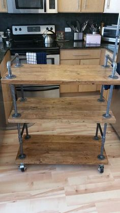 Industrial Bar Cart (wood & black pipe) - Imgur