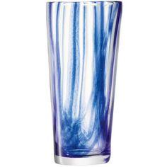 """Florero alto de cristal en color azul de la colección """"Cirro""""."""