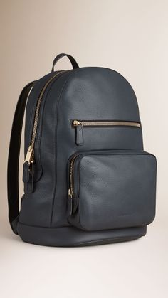 Structured Grainy Leather Backpack Dark Pewter Blue | Burberry
