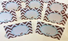 12 - Lil Cowboy Baby Shower Food Tents, Place Cards - Baby Blue & Brown Chevron - Party Pack Available on Etsy, $15.00