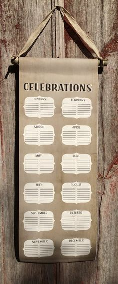 Celebrations Calendar Canvas Banner Sign - Birthdays, Anniversaries, etc - Christmas Gift, Mother's Day, Housewarming, Father's Day, Class