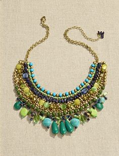Chico's Rita Bib Necklace. Blues Fest: a festival of color and shimmer.