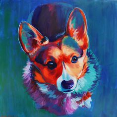 Mr. Dawson - acrylic painting by Heather Bullach #corgi #corgi painting