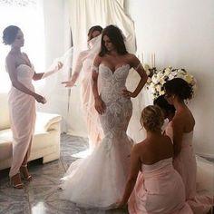 Off the Shoulder Mermaid Applique Charming Long Wedding Dress, BG51610