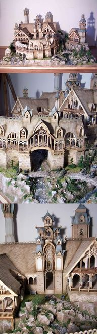 From Lord of The Rings:  Rivendell... House of Elrond ~ scratch-built, 1000 hours ~ by???