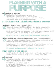 Planning With A Purpose - directions and worksheets. I taught the YW how to plan events using this. T