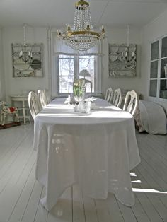 Dining Room. Whitewashed Cottage Chippy Shabby chic French country Rustic Swedish Decor Idea. ***Repinned from Faded Charm ***.