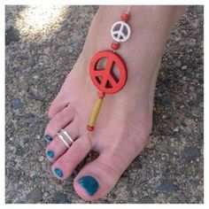 Made by The Retro Hippie Jewelry - Red & White Peace Symbol