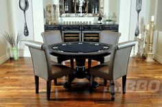 A Nighthawk Round Card Table Blue + Dining Top + 4 Premium Chairs -   from the Texas Poker Store - Click Image for pricing and availability