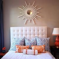 Gorgeous Shiny Things - bedrooms - white headboard, tufted headboard, white tufted headboard, damask pillows, orange damask pillows, white a...
