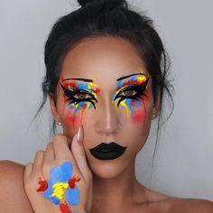🤡 look of the year Edgy Makeup, Unique Makeup, Creative Makeup Looks, Crazy Makeup, Colorful Makeup, Gothic Makeup, Face Paint Makeup, Eye Makeup Art, Fairy Makeup