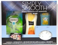 Simply Smooth Gift Set: Olay Body Wash 8.4 Oz, Secret Deodorant 1.6 Oz, Venus Razor & Puff by Procter & Gamble. $14.89. Gift Set Contains: 1 Olay Ultra Moisture Body Wash with Shea Butter 8.4-ounces, 1 Secret Scent Expressions Invisible Solid Antiperspirant & Deodorant Coco Butter Kiss 1.6-ounce, 1 Venus Embrace 5-blade with Ribbon of Moisture & 1 Puff