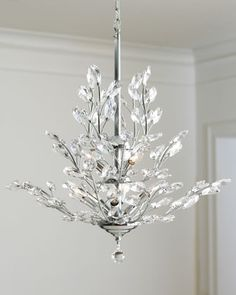 Upside-Down Nine-Light Silver-Leaf Chandelier at Horchow. Chandelier Pendant Lights, Modern Chandelier, Crystal Chandeliers, Closet Chandelier, Baccarat Chandelier, Bathroom Chandelier, Chandelier Ideas, Crystal Palace, Home Lighting