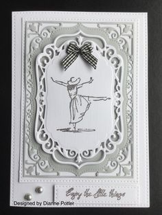 By Dianne Potter: Spellbinders Elegant Labels Four die,Sue Wilson Noble Rectangles die,dancing figure from Beautiful You stamp set from SU.Sentiment stamp from Grafix.White linen look card from The Range,Creative Expressions Foundations card in Pale Grey...