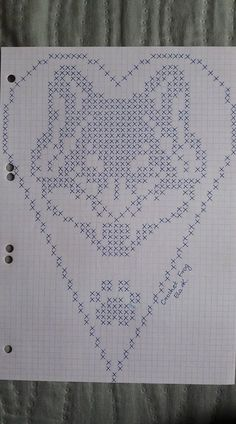 Crochet Heart Stitch Punto Croce Ideas For 2019 Filet Crochet, Crochet Chart, Crochet Doilies, Cross Stitch Owl, Cross Stitch Animals, Cross Stitching, Cross Stitch Patterns, Embroidery Hearts, Cross Stitch Embroidery