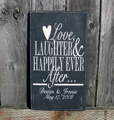 Personalized Wedding Date Sign Love Laughter by SaidInStoneOnline, $28.00
