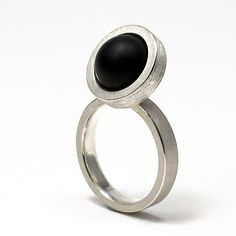 Geoffrey D. Giles round ring in argentium silver and black onyx.