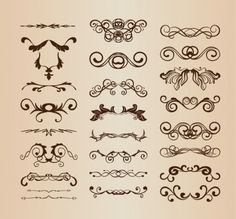 All-free-dowload.  Vintage Ornaments with Floral Elements Vector Set