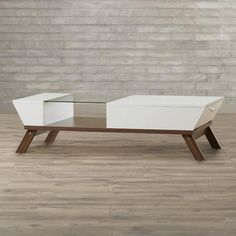 C & M Trapezoid Coffee Table In Brown Or White