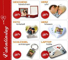 All you need is...! Richtig, am 14. Februar ist Valentinstag und die passenden Geschenke finden Sie bei AustroBild.at! Wie wäre es zum Beispiel mit der Herzuhr oder dem Herzkissen mit einem romantischen Bild. Weitere Ideen: Schlüsselanhänger, Laptophülle oder Geschenkkästchen. Alle 6 Foto-Geschenkideen gibt es bis 14.2.2013 20 Prozent günstiger.