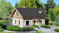 Projekt domu z poddaszem Dom przy Imbirowej o pow. 81,61 m2 z dachem dwuspadowym, z tarasem, sprawdź! Shed, Outdoor Structures, Cabin, House Styles, Outdoor Decor, Design, Home Decor, Future, Ideas