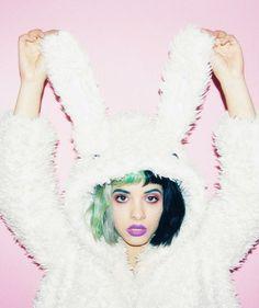 37c9d1c625 How cute is that! Melanie Martinez dressed in a Kawaii Rabbit Long Ears  Fluffy Coat