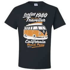 Surf T-Shirt Vintage Volkswagon Camper Van Bus Traveller West Coast Gift Adult Unisex T-Shirt Unisex Gifts, Adulting, West Coast, T Shirts, Camper, Surfing, Mens Tops, Vintage, Products