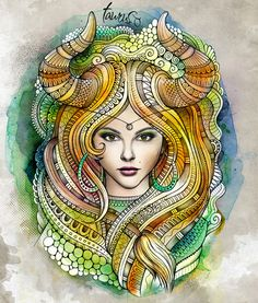 "Zodiac illustration ""TAURUS"" by balabolka , via Behance"