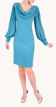 Vestido Bonnie corto  turquesa en crepe con mangas de gasa