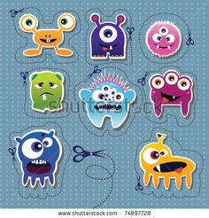 Monster collection, vector illustration