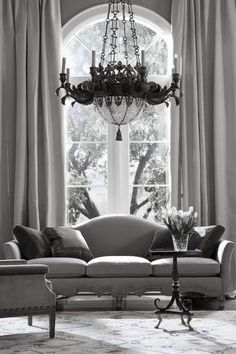 ♅ Dove Gray Home Decor ♅  grey living room with gorgeous chandelier