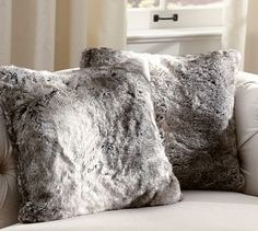 "Faux Fur Pillow Cover - Gray #potterybarn...buy a ""fur"" throw at and discount store...you can cut it into aprox 6 oversized pillow covers...stich and slip over pillows you have...cost about $5 per pillow!"