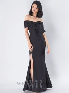 Need You Full Length Dress. A gorgeous full length dress by C/meo Collective. An off shoulder style featuring front tie on the bodice and front leg split in the skirt.
