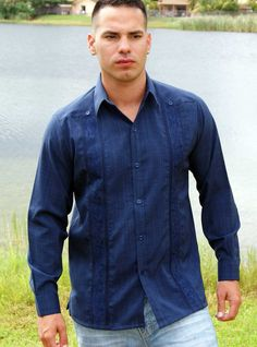 Non Pockets Wedding Guayabera  Long Sleeve.  Linen LOOK ! Navy Blue. - Mexican wedding shirts manufactured by D'accord in the USA. Button Cuff.  High quality  couture guayabera shirt. Wedding Guayabera shirt Long sleeve. Non Pockets. Wash