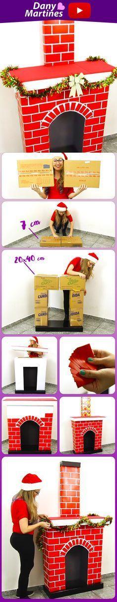 Faça você mesmo uma lareira fake feita com caixas de papelão e encapada simulando tijolinhos, fica linda a decoração de natal, DIY, Christmas decro, Do it yourself, Dany Martines