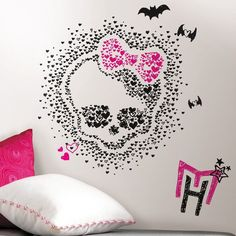 Great Monster High Heart Skullette Peel And Stick Wall Decals   $27.99