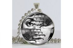 Piero Fornasetti Face Necklace with Chain Art Pendant Resin Pendant Picture Pendant. $8.75, via Etsy.