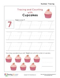 Tracing and Counting with Cupcakes. Tracing and counting number 7 worksheet. For more free worksheets visit us at TeachySheets.com