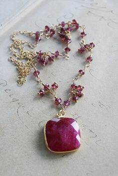 Ruby Necklace with Garnet Accents on 14kt. Gold Filled Chain-necklace, ruby, garnet rondelles, 14kt gold fill, lovely, wirewrapped, faceted, cushion cut, vermeil, tippy stockton