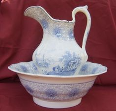 19th Century Blue and White Transfer ware  Bowl and Pitcher